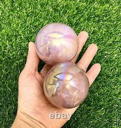 Wholesale Lot 3-4 PCs Angel Aura Rose Quartz Spheres Crystal Healing Energy