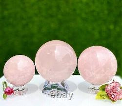 Wholesale Lot 3 Pcs 3.8 To 4 Lbs Natural Rose Quartz Spheres Crystal Ball