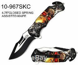 Wholesale Lot x28- 8.5 ElitEdge Skull Spring Assisted Folding Knife-967SK