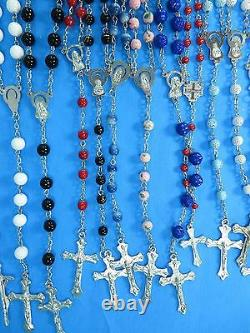 Wholesale bulk lot of 30 unisex jewelry rosary necklace with acrylic beads chain