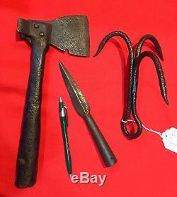 Wonderful set 3 Civil War era Naval boarding pike, boarding axe, grappling iron