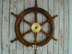 Wood Ship Wheel Nautical Boat Wooden Brass Steering 12, 18, 24, solid