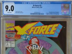 X-FORCE #2 (09/1991) Investment LOT of (4) CGC 9.0-9.2-9.4 (White) 2nd Deadpool